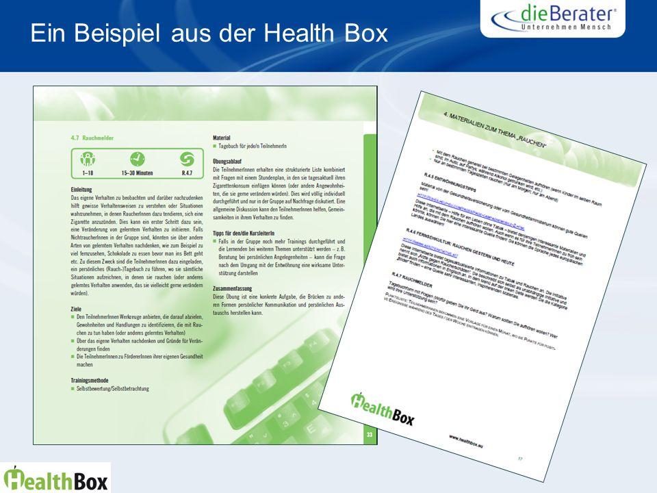 Ein Beispiel aus der Health Box