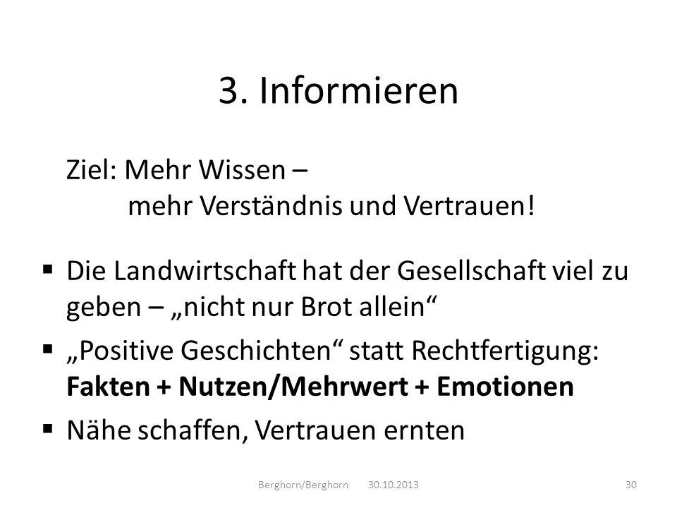 3. Informieren Ziel: Mehr Wissen – mehr Verständnis und Vertrauen!