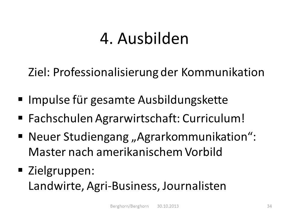 4. Ausbilden Ziel: Professionalisierung der Kommunikation