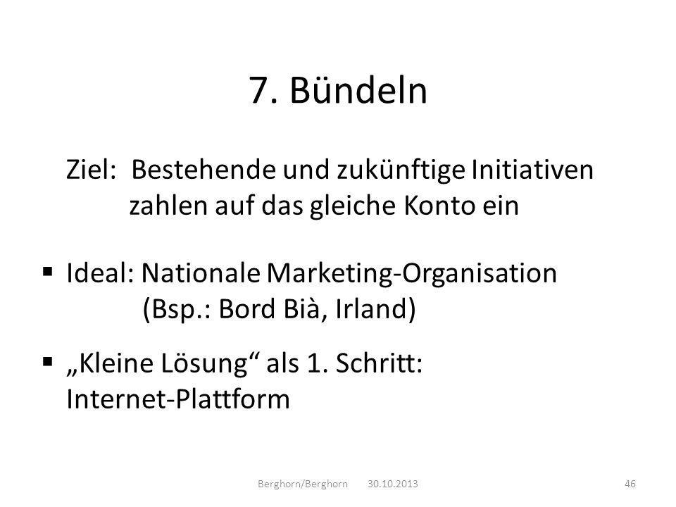 7. BündelnZiel: Bestehende und zukünftige Initiativen zahlen auf das gleiche Konto ein.