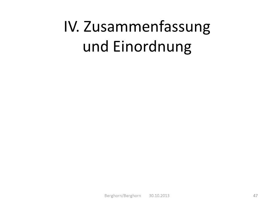 IV. Zusammenfassung und Einordnung