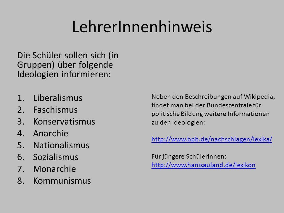 LehrerInnenhinweis Die Schüler sollen sich (in Gruppen) über folgende Ideologien informieren: Liberalismus.