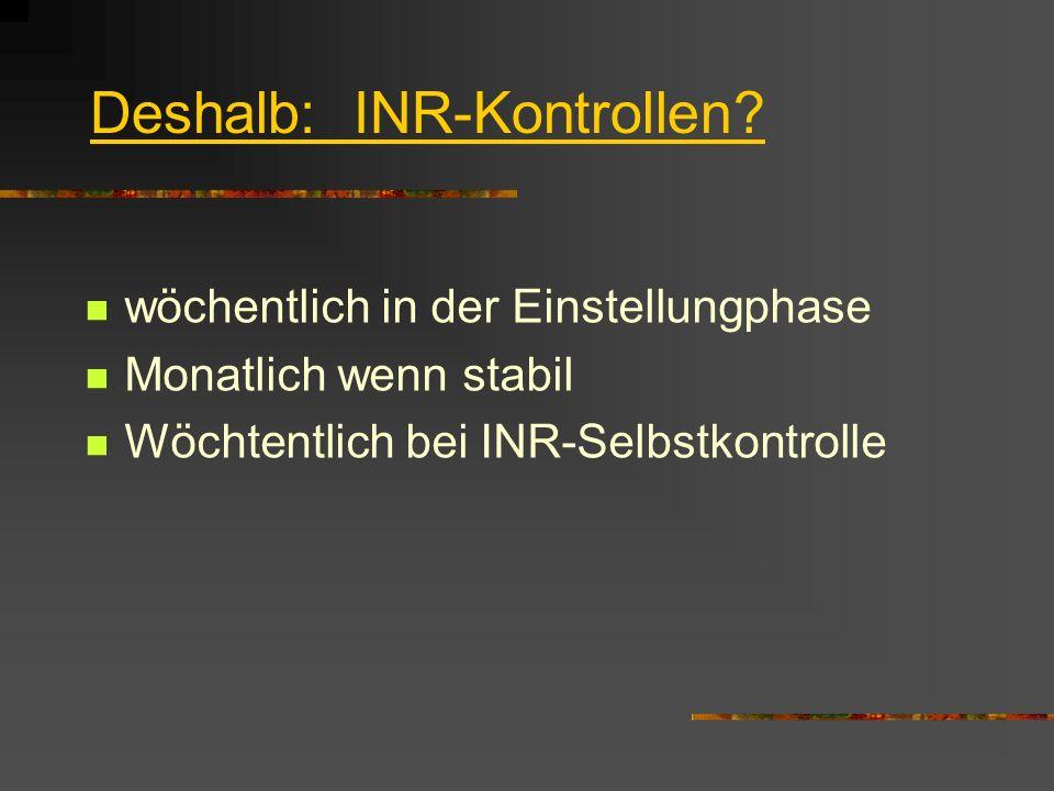 Deshalb: INR-Kontrollen