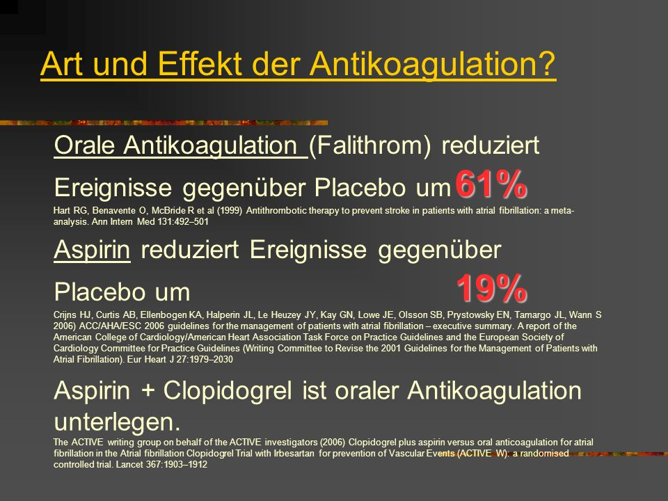 Art und Effekt der Antikoagulation