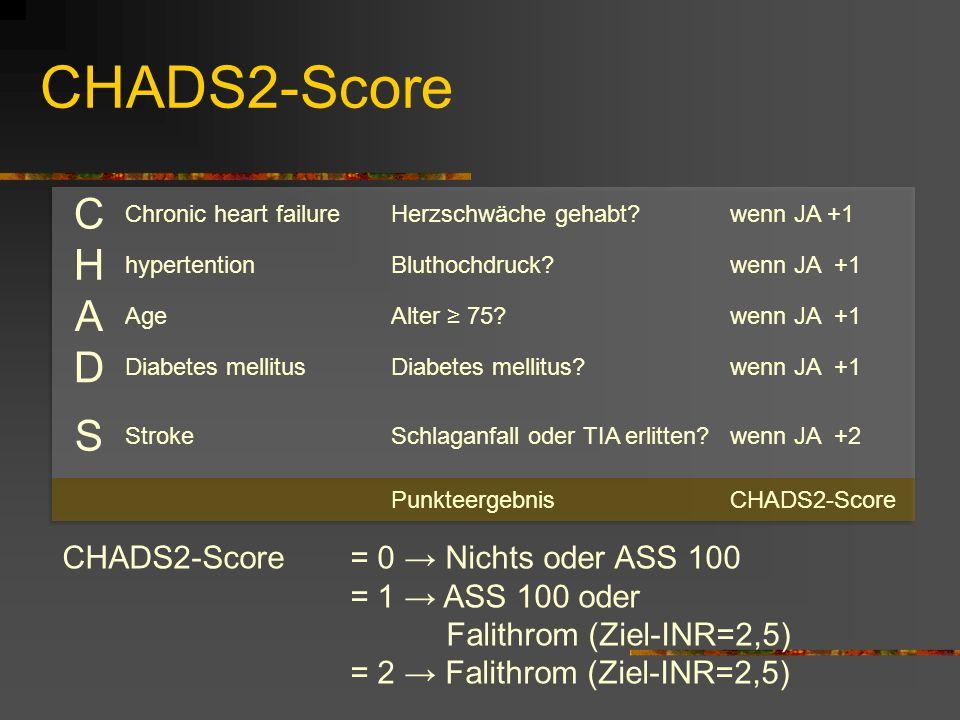 CHADS2-Score C. Chronic heart failure. Herzschwäche gehabt wenn JA +1. H. hypertention. Bluthochdruck