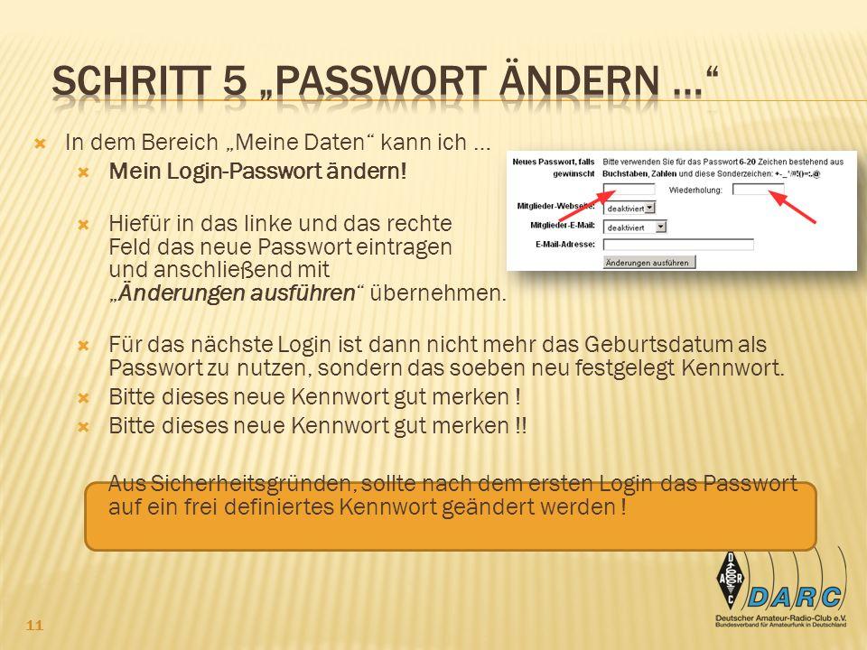 "Schritt 5 ""Passwort ändern …"