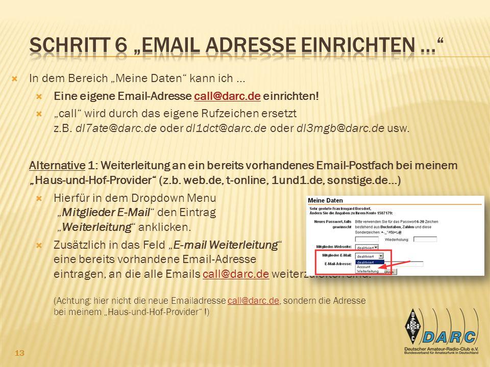 """Schritt 6 """"Email adresse einrichten …"""