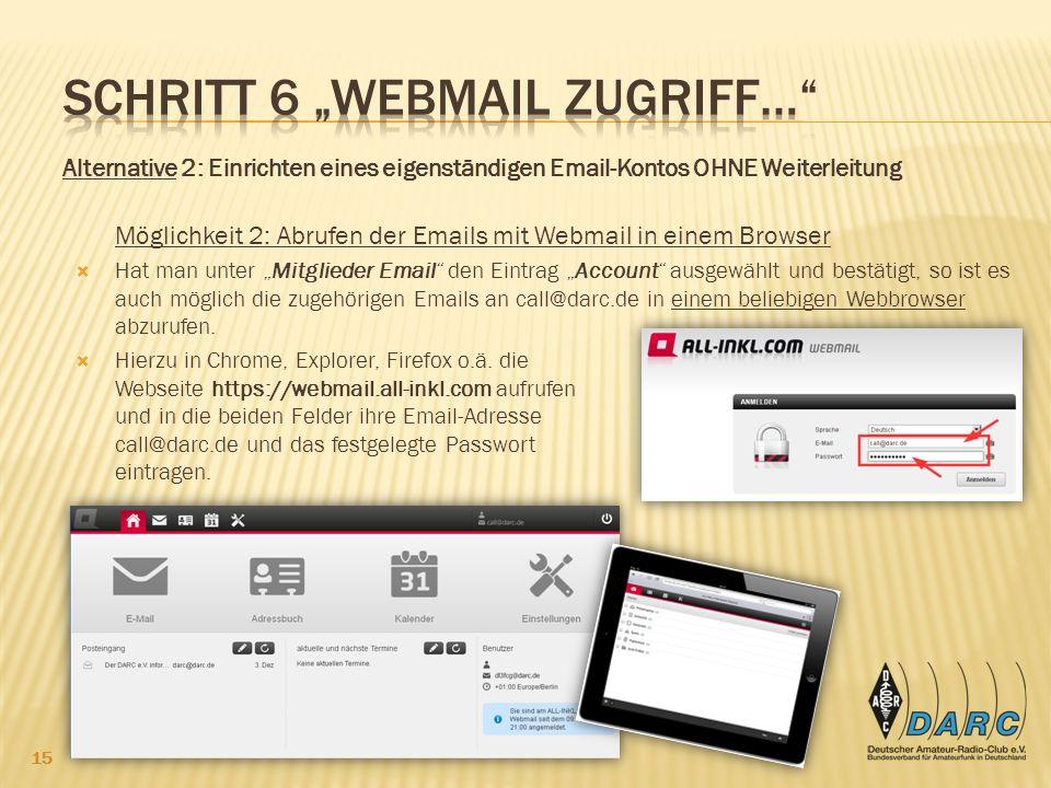 """Schritt 6 """"Webmail Zugriff…"""