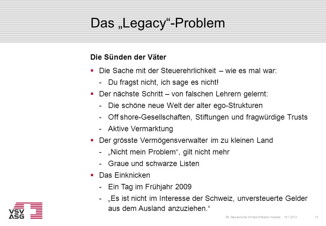 """Das """"Legacy -Problem Die Sünden der Väter"""