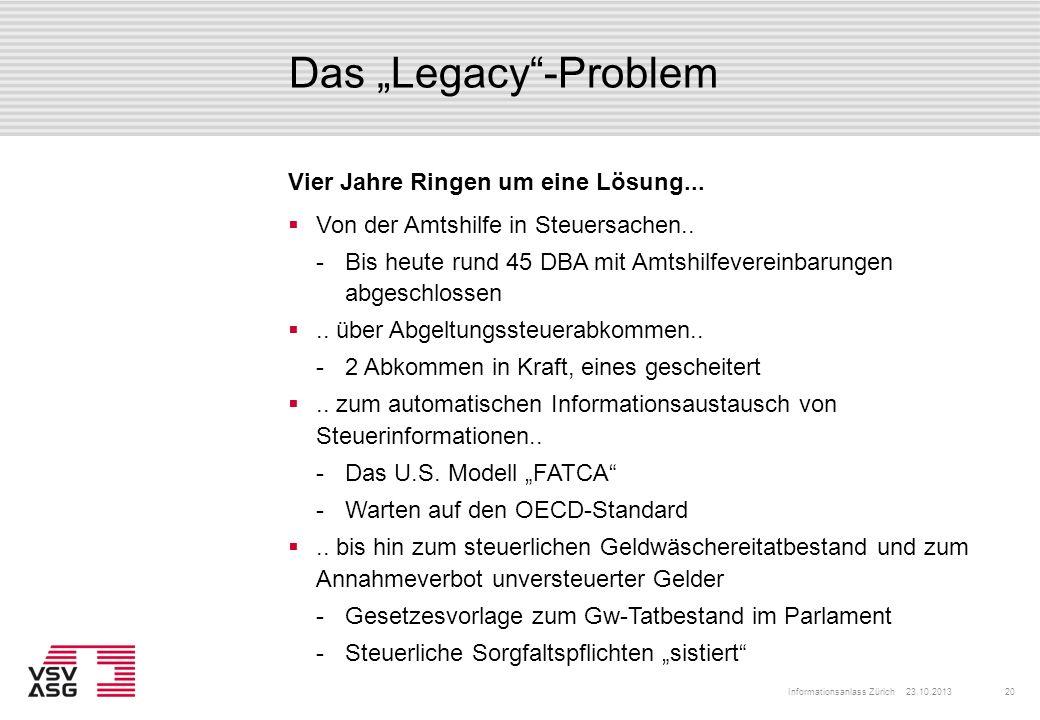 """Das """"Legacy -Problem Vier Jahre Ringen um eine Lösung..."""