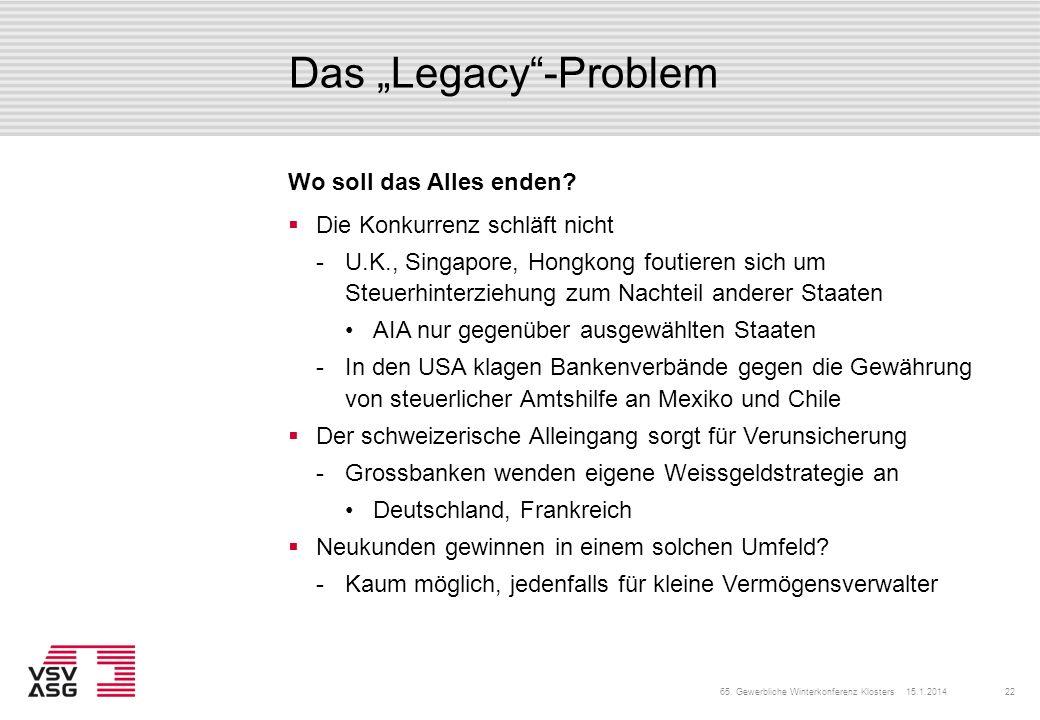 "Das ""Legacy -Problem Wo soll das Alles enden"