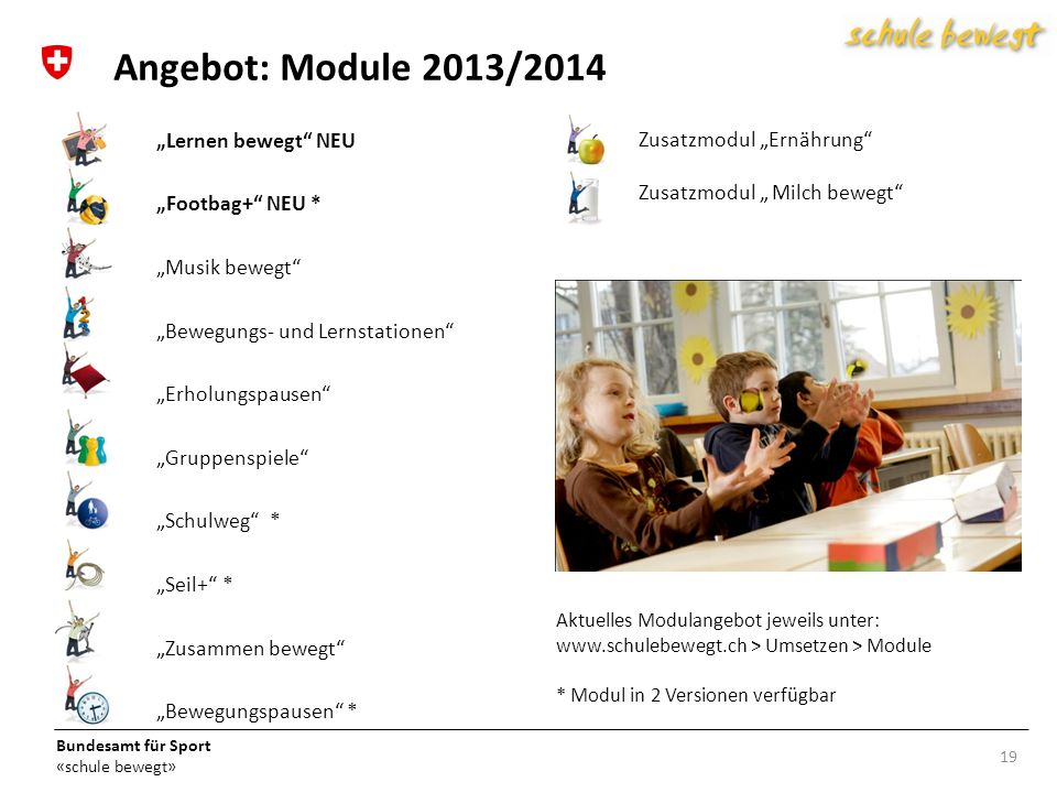 """Angebot: Module 2013/2014 Zusatzmodul """"Ernährung """"Lernen bewegt NEU"""