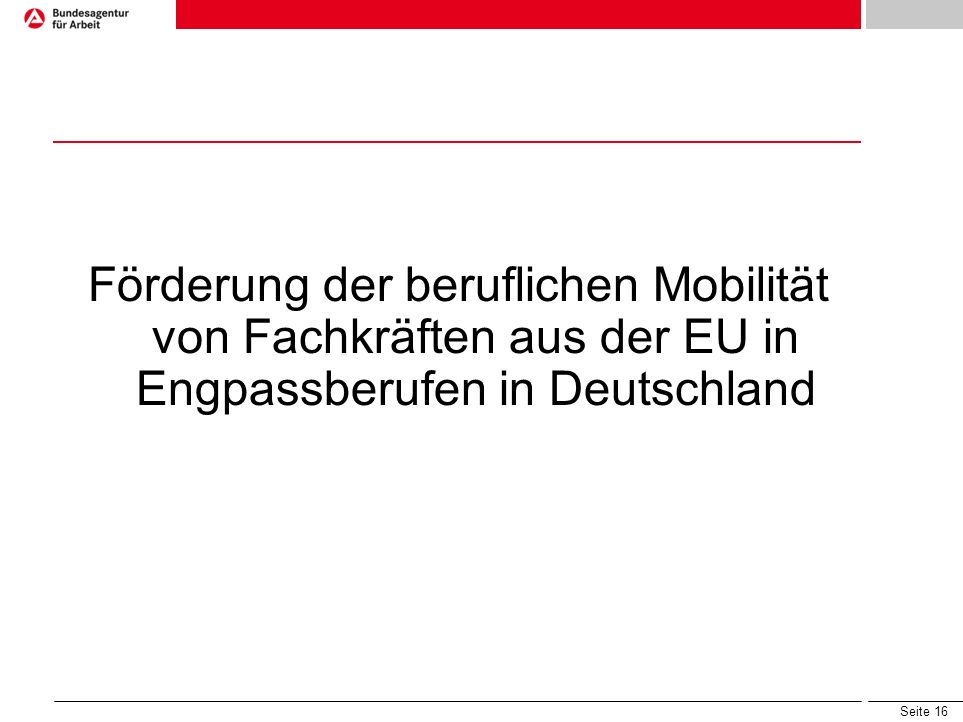 Förderung der beruflichen Mobilität von Fachkräften aus der EU in Engpassberufen in Deutschland