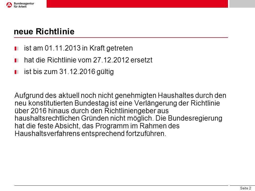neue Richtlinie ist am 01.11.2013 in Kraft getreten