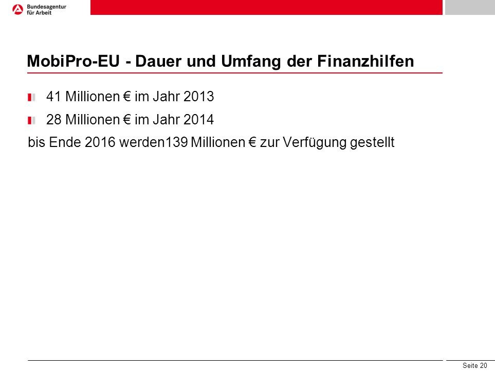 MobiPro-EU - Dauer und Umfang der Finanzhilfen