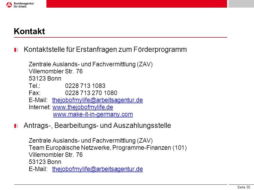 Kontakt Kontaktstelle für Erstanfragen zum Förderprogramm