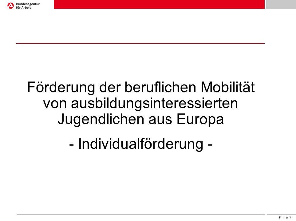 Förderung der beruflichen Mobilität von ausbildungsinteressierten Jugendlichen aus Europa - Individualförderung -