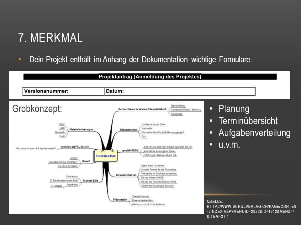 7. Merkmal Grobkonzept: Planung Terminübersicht Aufgabenverteilung
