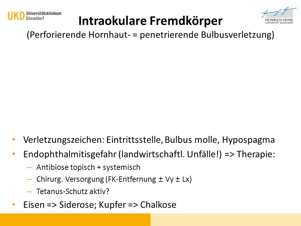 Intraokulare Fremdkörper (Perforierende Hornhaut- = penetrierende Bulbusverletzung)
