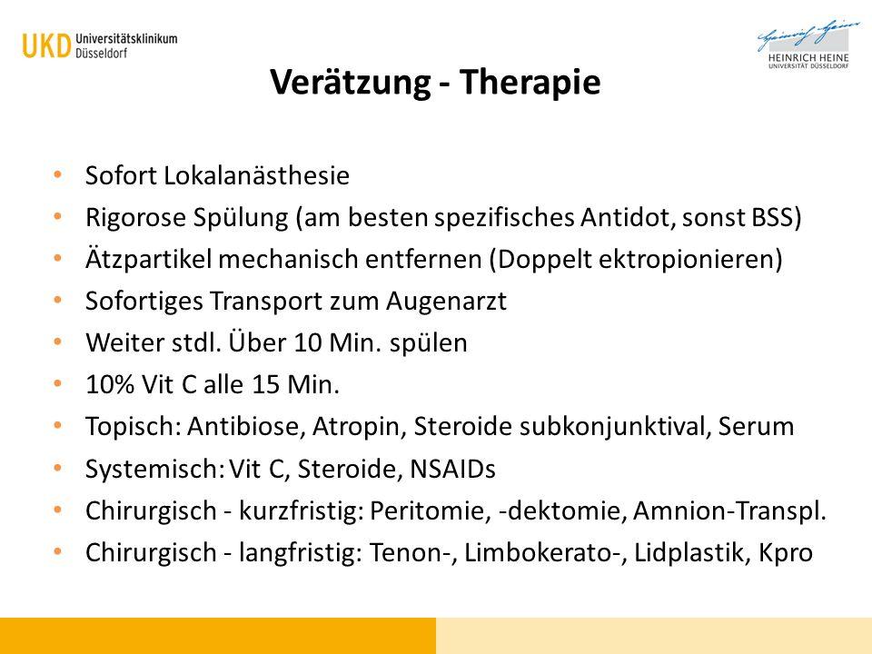 Verätzung - Therapie Sofort Lokalanästhesie
