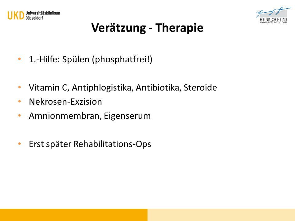 Verätzung - Therapie 1.-Hilfe: Spülen (phosphatfrei!)