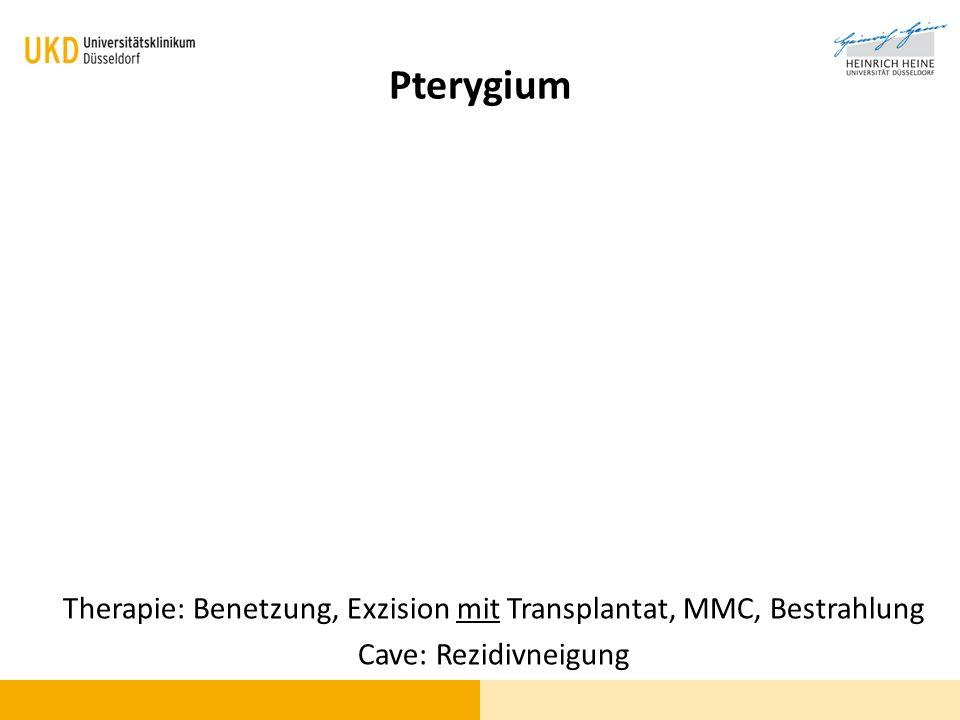 Therapie: Benetzung, Exzision mit Transplantat, MMC, Bestrahlung