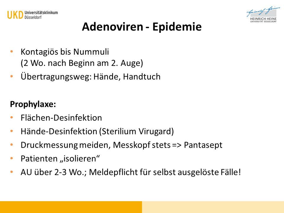 Adenoviren - Epidemie Kontagiös bis Nummuli (2 Wo. nach Beginn am 2. Auge) Übertragungsweg: Hände, Handtuch.