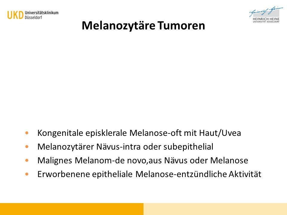 Melanozytäre Tumoren Kongenitale episklerale Melanose-oft mit Haut/Uvea. Melanozytärer Nävus-intra oder subepithelial.