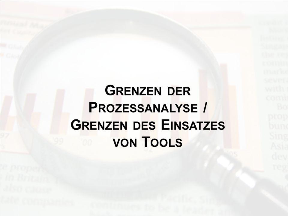 Grenzen der Prozessanalyse / Grenzen des Einsatzes von Tools