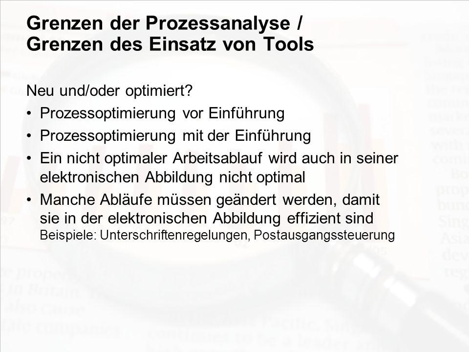 Grenzen der Prozessanalyse / Grenzen des Einsatz von Tools