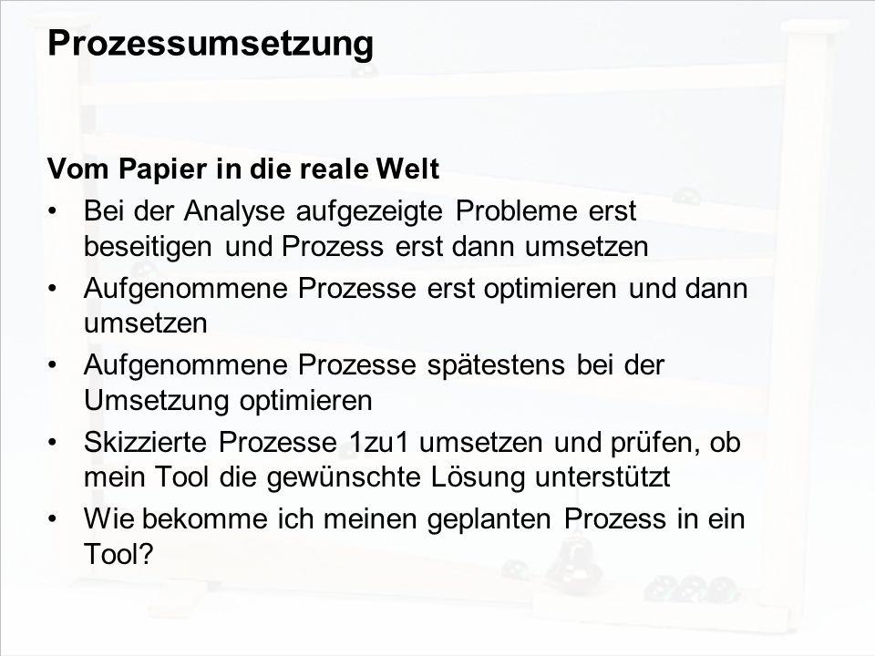 Prozessumsetzung Vom Papier in die reale Welt
