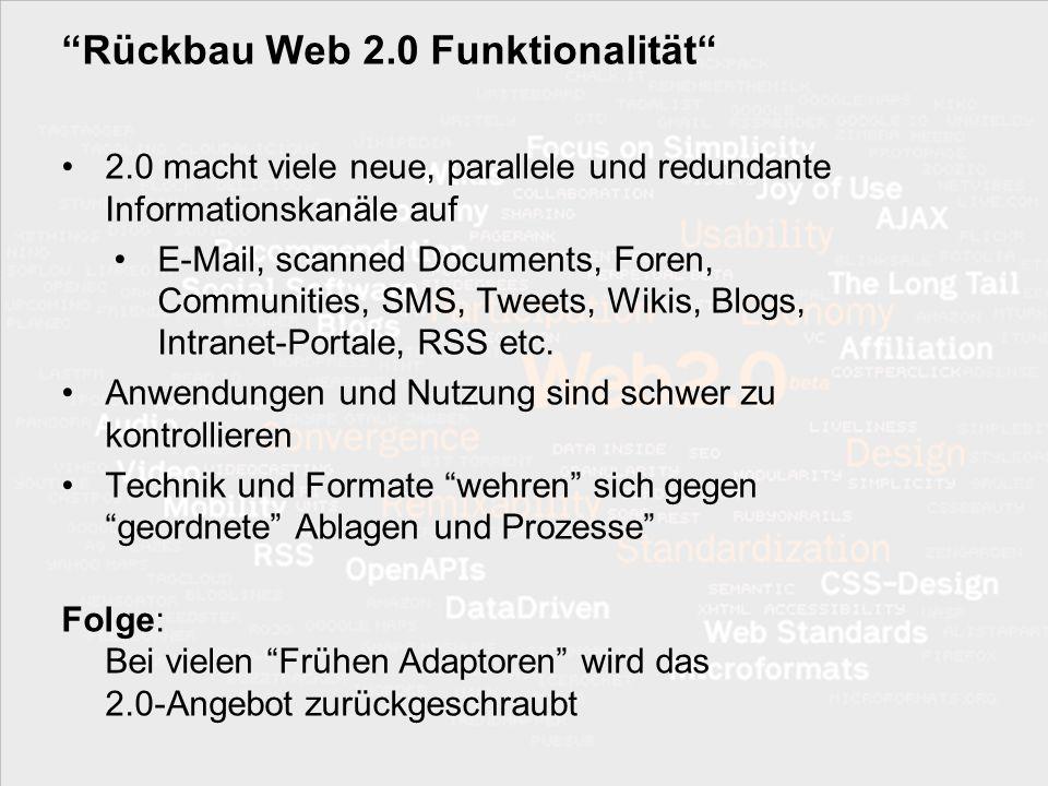 Rückbau Web 2.0 Funktionalität