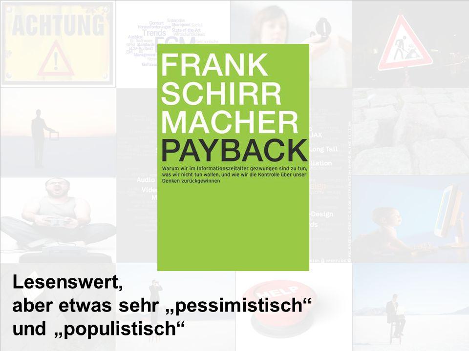 """Lesenswert, aber etwas sehr """"pessimistisch und """"populistisch"""