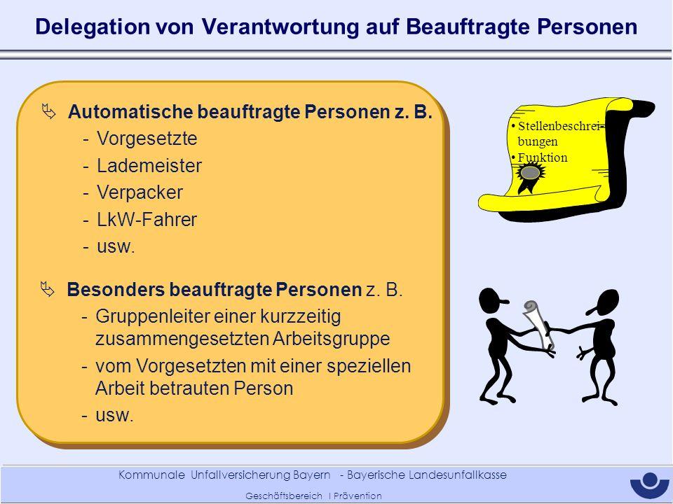Delegation von Verantwortung auf Beauftragte Personen