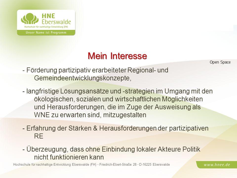 Mein Interesse Open Space. - Förderung partizipativ erarbeiteter Regional- und Gemeindeentwicklungskonzepte,