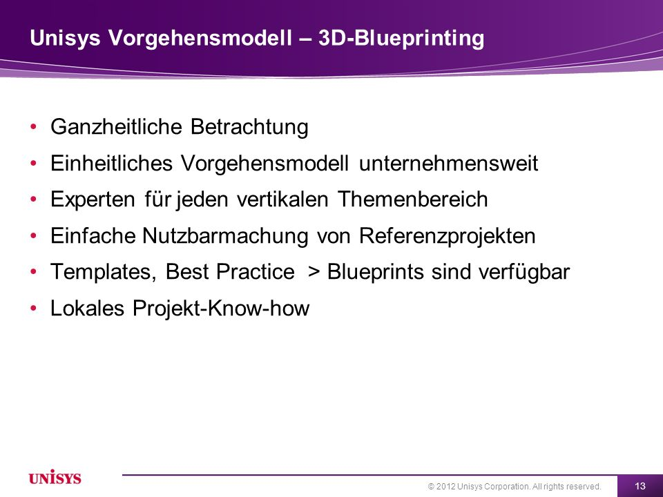 Unisys Vorgehensmodell – 3D-Blueprinting