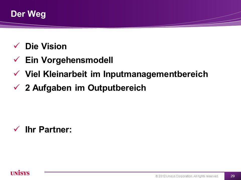 Der Weg Die Vision. Ein Vorgehensmodell. Viel Kleinarbeit im Inputmanagementbereich. 2 Aufgaben im Outputbereich.