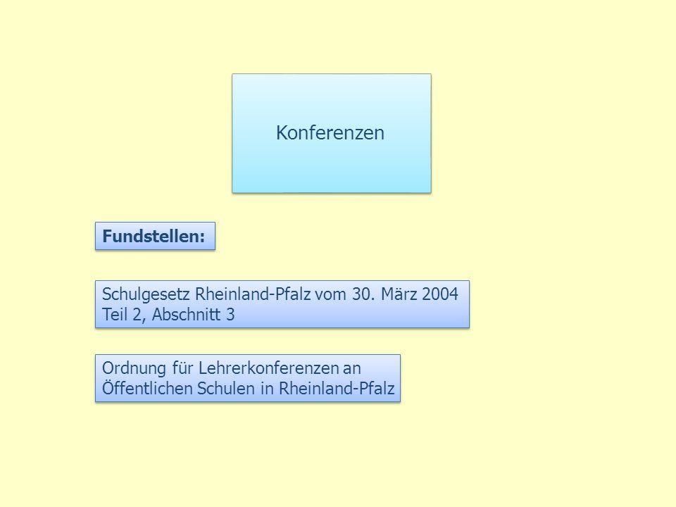 Konferenzen Fundstellen: Schulgesetz Rheinland-Pfalz vom 30. März 2004