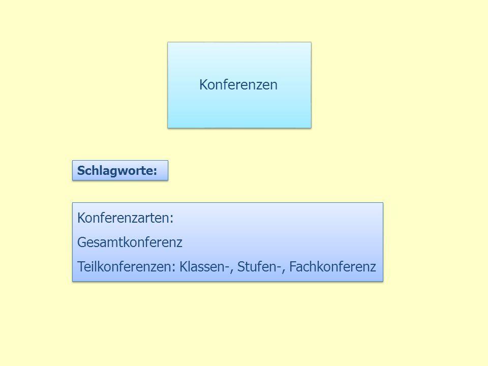 Konferenzen Konferenzarten: Gesamtkonferenz