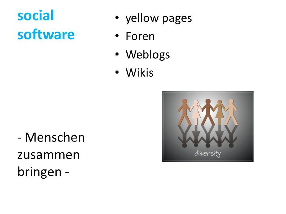 social software - Menschen zusammen bringen - yellow pages Foren
