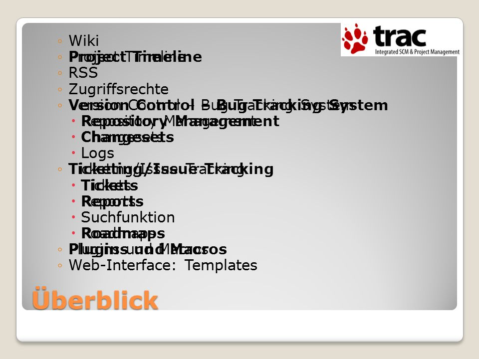 Überblick Wiki Project Timeline RSS Zugriffsrechte
