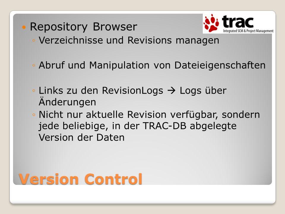 Version Control Repository Browser Verzeichnisse und Revisions managen