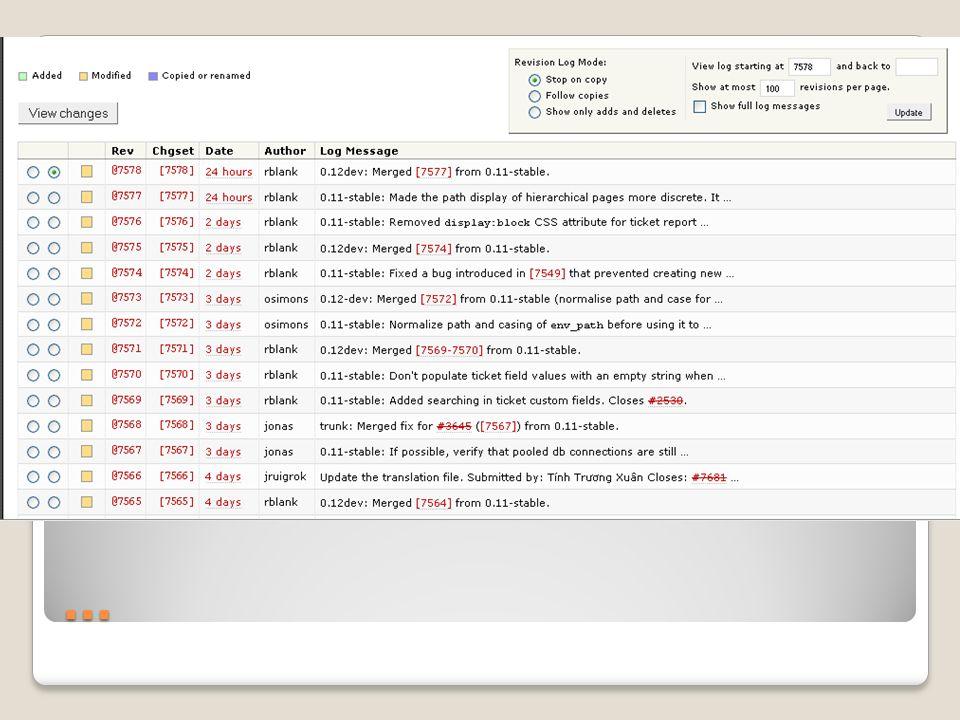 … Changesets s.g. diffs – Änderungen in Dateien