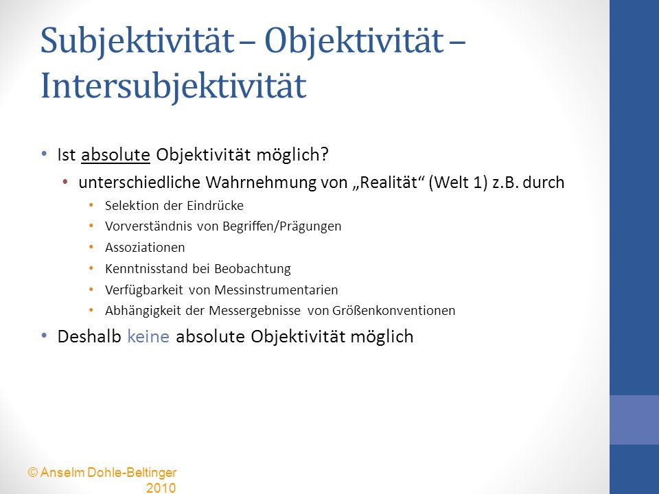 Subjektivität – Objektivität – Intersubjektivität