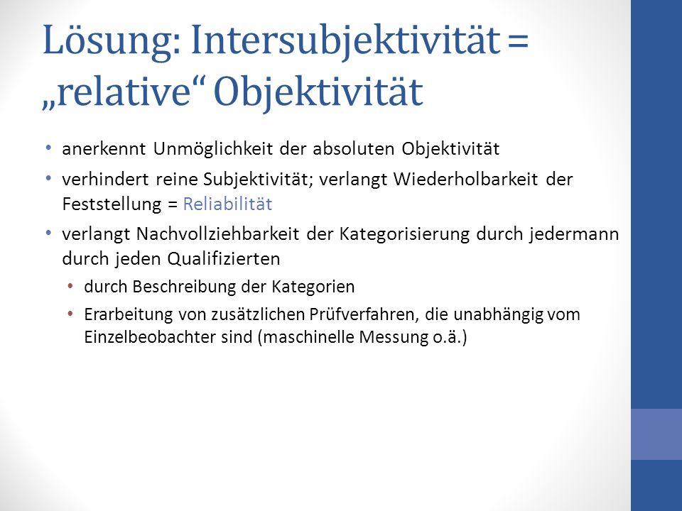 """Lösung: Intersubjektivität = """"relative Objektivität"""