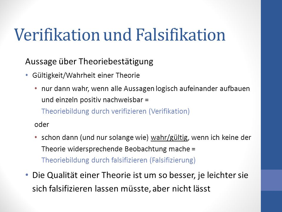 Verifikation und Falsifikation