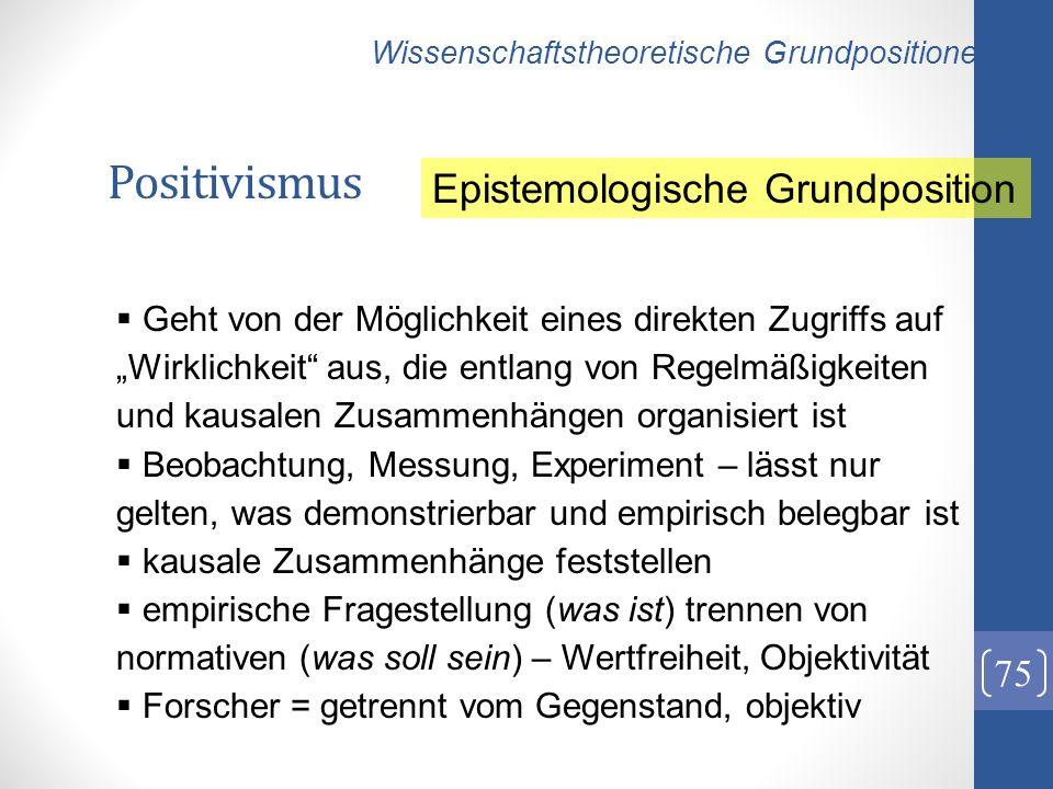 Positivismus Epistemologische Grundposition