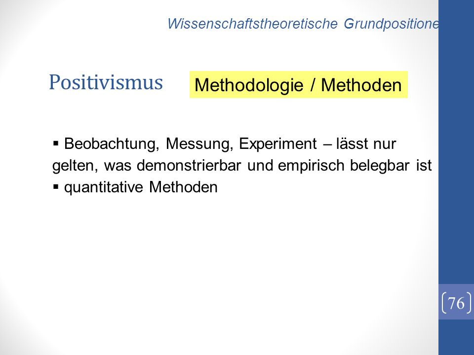 Positivismus Methodologie / Methoden