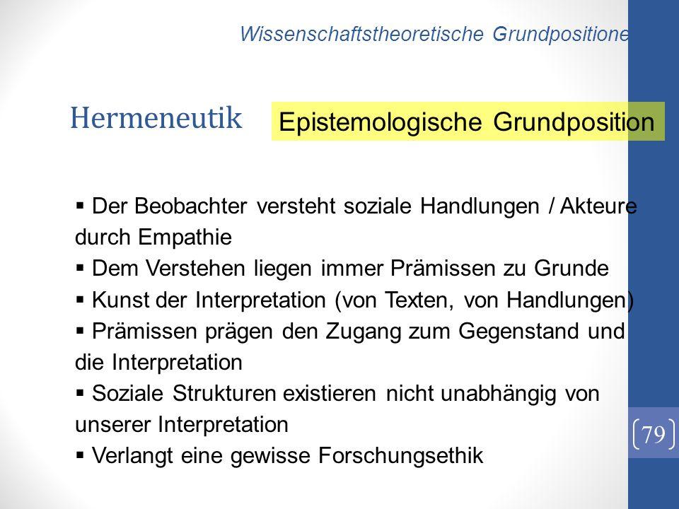 Hermeneutik Epistemologische Grundposition