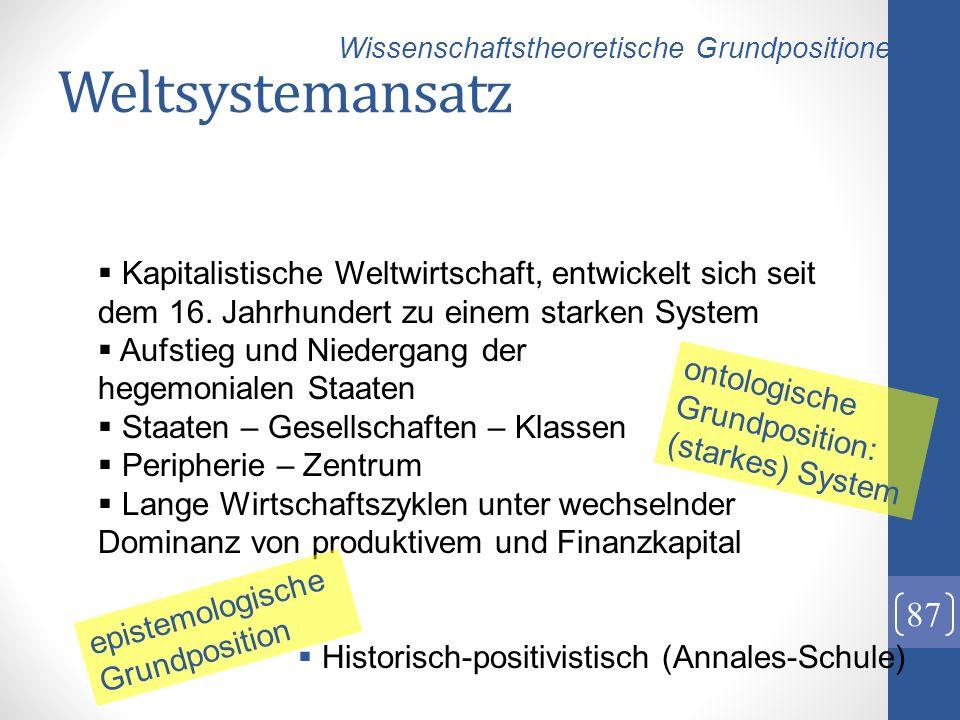 Weltsystemansatz Wissenschaftstheoretische Grundpositionen.